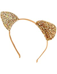32c85c4b8c18 Claire's Girl's Iridescent Glitter Cat Ears Headband - Gold