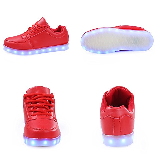 SAGUARO® 7 Colors USB Charging LED Lighted Luminous Couple Casual Sport Shoes Sneakers for Unisex Men Women Rot