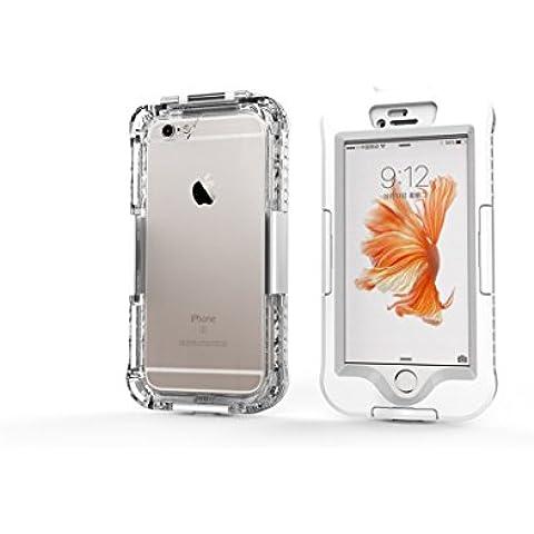 DBIT iPhone 6 Custodia Impermeabile,IP68 Certificato Sigillatura Completa Case Anti-sporco Cover Protettiva Waterproof Impermeabile Antiurto per Apple iPhone 6s,Bianco