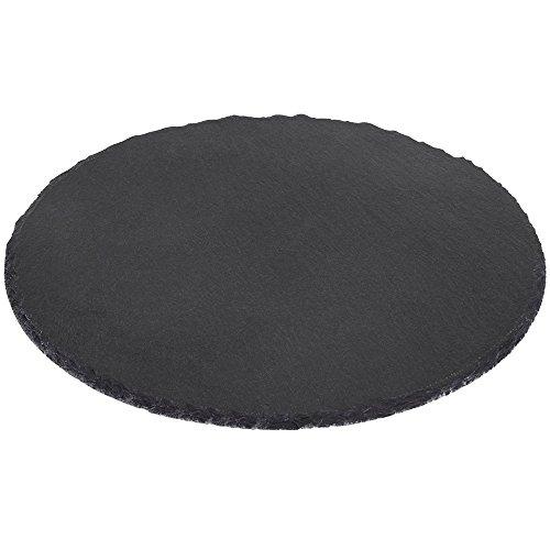 Kesper Buffet-Platte, Servierplatte, Schieferplatte, rund, aus Schiefer, geölt, Höhe: 9 mm, Durchmesser: 355 mm, schwarz Buffet Platte