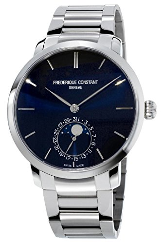 Frederique Constant Slimline Moonphase Steel Mens Watch Midnight Blue Dial FC-705N4S6B2