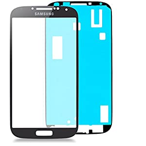 Samsung Galaxy S5 i9600 Glas in SCHWARZ: Reparatur Set *NEU* mit Glas Scheibe und Kleber, Display black, Frontscheibe komplett, Display-glass für S5, Ersatzteil für Glasscheibe