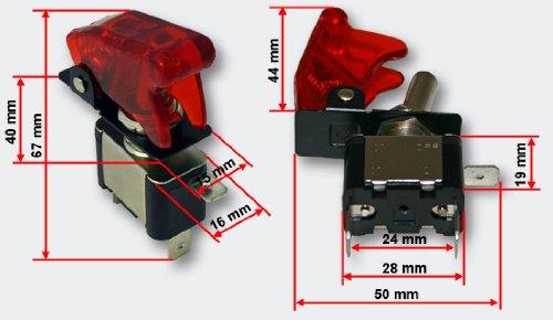 Preisvergleich Produktbild Kill Switch Kippschalter für 12 V 20 A Knock Out mit roter Kappe