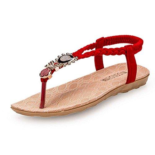 Amlaiworld De Bohemia Clipe Sandálias Doce Verão Toe Praia Vermelho Pérola Sapatos 1pq5xrw1
