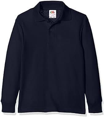 Fruit of the Loom Jungen Poloshirt 65/35 Long Sleeve Polo Kids, Blau (Deep Navy 202), 104 ((3-4))