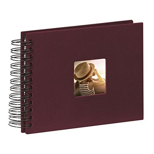 Hama Fotoalbum Fine Art (50 schwarze Seiten (25 Blatt), Spiralalbum 24 x 17 cm, mit Ausschnitt für Bildeinschub, bordeaux)
