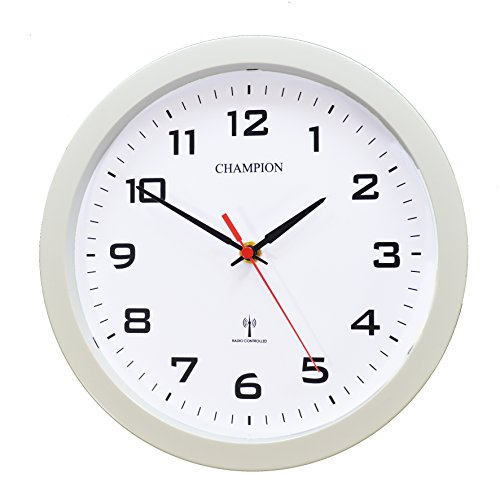 RC55DCF European Central Time Signal DCF 77 Radio Controlled Bold Quartz Wall Clock (White)