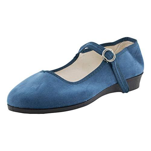 China Samtschuhe Damen Jeans-Blau Größe 39 EU - offene Trachtenschuhe mit Riemchen und Absatz -