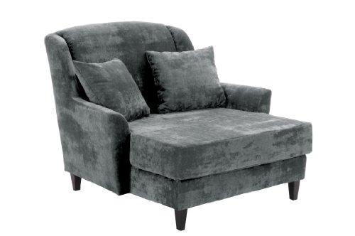 Max Winzer 2762-1100-2044116 Love-Seat Jana - Gemütlicher Einzelsessel im XXL-Format,Samtvelour, grau