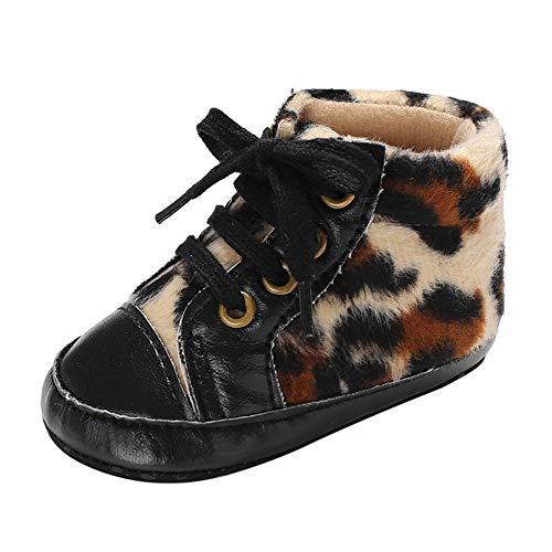 Ears Baby Weihnachten Schneestiefel Kinder Winter Winterstiefel Prewalker warme Print Leopard Schuhe Warm Baby Warme Stiefel Schneeschuhe Schuhe Kleinkind Säugling weiche (Leopard Kapuzen Schal)