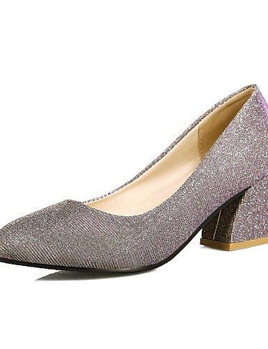 WSS 2016 Chaussures Femme-Extérieure / Bureau & Travail / Habillé-Noir / Argent / Or-Gros Talon-Talons / Confort / Bout Arrondi-Talons-Polyuréthane golden-us6.5-7 / eu37 / uk4.5-5 / cn37