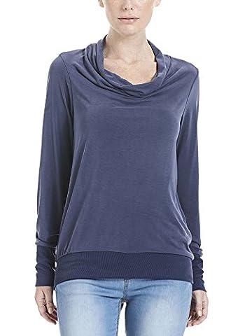 Bench Damen Regular Fit Sweatshirt HIGH WATERFALL NECKLINE BLGA3189, Einfarbig, Gr. 36 (Herstellergröße: S), Blau (maritime Blue Bl193)