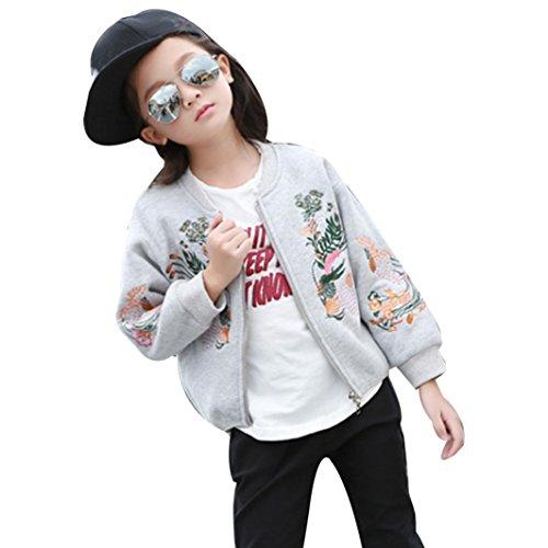 Für 1-6 Jahre alte Mädchen Mäntel , Janly Sweatshirt Jacken Kleinkind Kinder Blume Sticken Reißverschluss Outwear Tops Baseball Uniform (3-4 Jahre alte, Grau)
