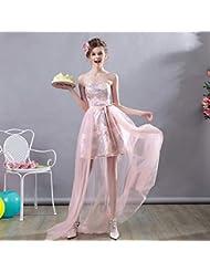 10fcb84560 YT-RE Robe de Mariée Rose Courte Longue Longue Organza Robe de Demoiselle d'