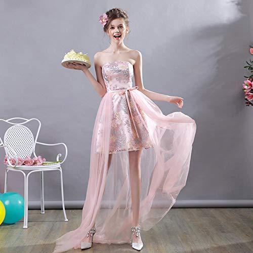YT-RE Rosa Kleid Vorne Kurz Lang Lang Organza Brautkleid Brautjungfer Kleid Bunt Stickerei...