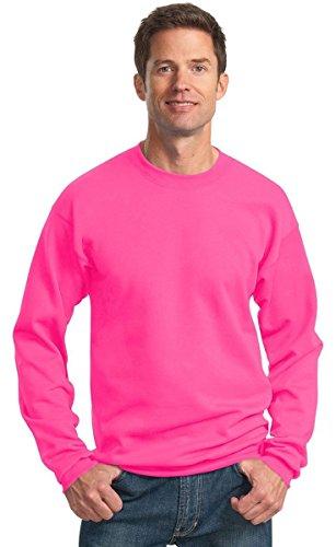 Port & Company® - Core Fleece Crewneck Sweatshirt. PC78 Neon Pink M Poly Crewneck Fleece Sweatshirt
