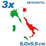 3x Italien Stiefel Aufkleber (Nr.032) AdesivoTricolore Italia Italy Sticker 5,0x5,5cm