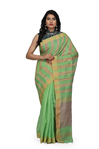 The Weave Traveller Handloom Women's Hand Woven Allover Ghicha Stripe Cotton Saree...