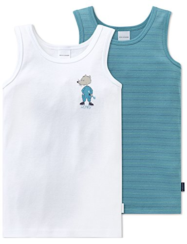 Schiesser Jungen Multipack 2pack Hemd 0/0 Unterhemd, Mehrfarbig (Sortiert 1 901), 128 (2erPack) - Kleine Kinder Lime Bekleidung