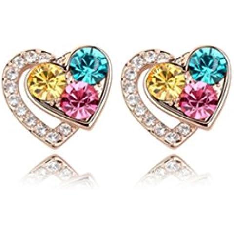 Fashion Jewelry donna, placcata oro giallo, con margine Multi colori a forma di cuore, con cristallo Swarovski Elements Earrings. bellissimo regalo.