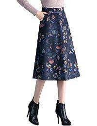 Damen Vintage Elegante Drucken Wollrock Herbst Winter Warm Röcke Mode Hohe  Taille Midi Rock b1d3559ea2