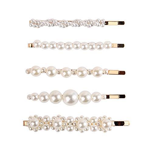 Hosaire Set-5x Conjunto de Pinzas para el Cabello Perla de Horquillas Clips de Pelo Broches para el Cabello Bobby Pin para el Cabello de Boda Nupcial para Las Mujeres niñas