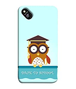 Micromax Bolt D303 Back Cover Back To School Owl Student Icon Design From FUSON