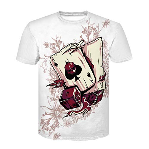 XJWDTX Summer Poker Card Pattern Digitaldruck Herren Kurzarm T-Shirt