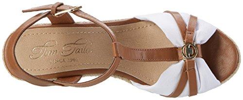 Tom Tailor Ladies 2790203 Sandali Con Cinturino Marrone (cammello-bianco)
