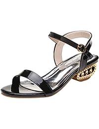 Fuxitoggo Sandalias de mujer Zapatos de tacón medio Bombas superficiales de punta abierta Plataforma antideslizante Correas