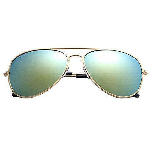 NINGSANJIN Mode Polarisierte Sonnenbrille For Damen UV400 reflektierenden Spiegel (Gold-Gold)
