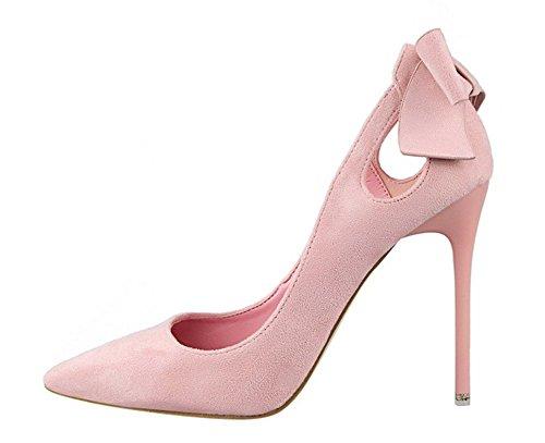 Wealsex Escarpin suédé Noeud Bout Pointu Talon Haute Aiguille 10.5 CM Chaussure Soirée Mariage Club Mode Sexy Femme Rose