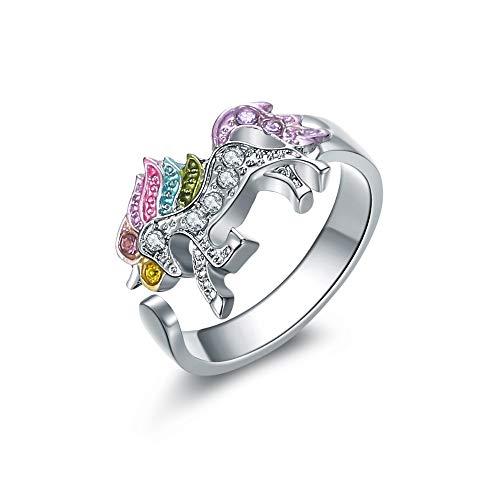 BQZB Ring Mode Niedlichen Cartoon Einhorn Ring für Frauen Einstellbare Legierung Kristall Fingerring Schmuck Geschenk Für Mädchen Großhandel