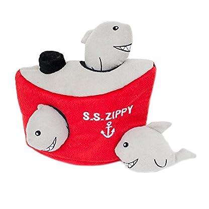 ZippyPaws Burrow Shark 'n Ship - Squeaky Plush Hide and Seek Dog Toy 1