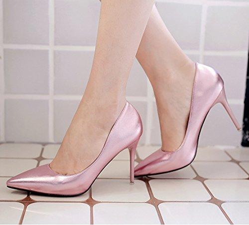 Damen Moderne Pumps Spitz Zehen Stiletto Anti-Rutsch Atmungsaktiv Slip-On Hochzeitschuhe Pink