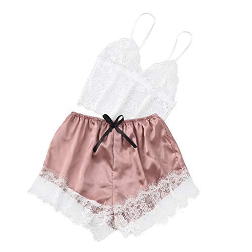 Damen Erotische Dessous FGHYH Neue Art- und Weisedamen-Unterwäsche-reizvolles Spitze-Riemen-Wäsche-Hosen-Pyjama-Nachthemd(L, Rosa) (Snap Pyjama-hose)