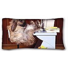 Generic personalizado (animales otoño lluvia paraguas) personalizado con cremallera funda de almohada de 20x 36cm (One lados) de sorpresa que apto para pc-orange-17832X-Long dobles