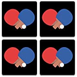Colorpur Table Tennis Bat And Ball Wooden Square Coaster (Set of 4) - 9.5 cm x 9.5 cm | Artist: Torben