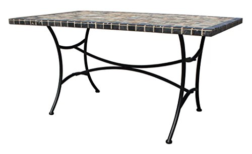 Home & Haus Double Coated Concrete Slate Mosaic Top Steel Frame Dining Table – Black