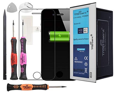 Trop Saint® Batterie Compatible avec iPhone 4S - 1430mAh/3.8V - Kit de Réparation avec Outils, Adhesifs et Verre Trempé