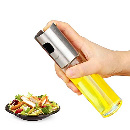 Koopower 100ml Öl Sprühflasche, Olivenöl Glasflasche und Premium Essig zerstäuber, Transparent Öl sprüher/Öl-Sprayer Spender Küche Werkzeug mit Trichter für Pasta, BBQ, Salate, Kochen, Backen