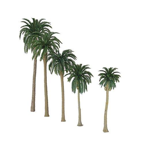 ELECTROPRIME® 10 pcs Model Train Coconut Palm Trees Beach Diorama Scenery 1:65 HO OO 16CM