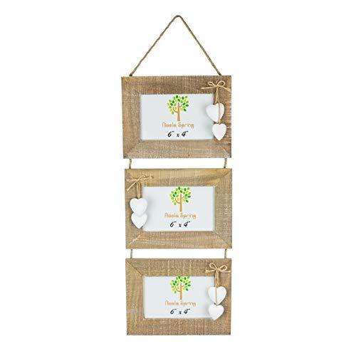 rahmen für 3 Fotos - Holz mit weißen Herzen - hängend - 15 x 10 cm (6 x 4
