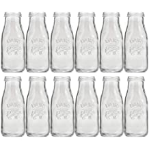 Circleware Country - Botellas de Leche de Cristal Transparente (300 ML, 12 Unidades)