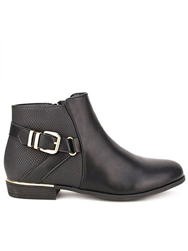 Cendriyon, Bottine noire Bi matière KIO Grande pointure Chaussures Femme Noir
