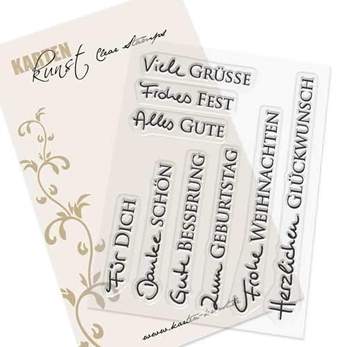 Clear Stamp-Set Stempel-Gummi Karten-Kunst - Kombi-Set Grüße 2