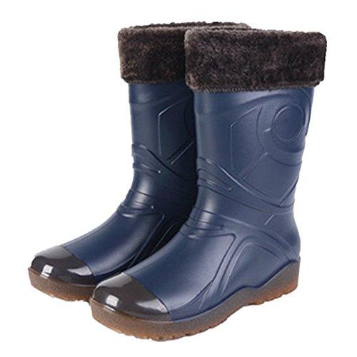 Herren Gummistiefel Regenstiefel Wolle Warm Gefütterte Halbschaft Stiefel Damen Arbeitsstiefel Rutschfest Rain Schuhe Winter,Blau 40