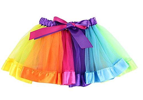 Arrowhunt Girls Layered Rainbow Bow Dance Ruffle Tutu Skirt