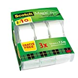 3M Scotch 59555 Dispenser Ricaricabile per Nastro Adesivo da 19 mm x 33 m Bianco e Nero Porta Scotch Grande per Ufficio