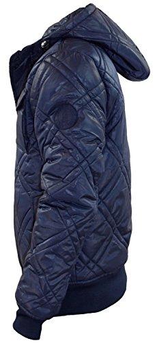 Neue Männer Kreuzschraffieren Padded Quilted gefütterte Winterjacke mit Kapuze und Reißverschluss-Knopf-Mantel Total Eclipse